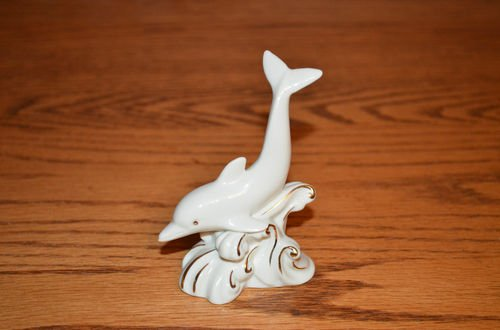 LENOX Porcelain DOLPHIN Figurine with Gold Trim