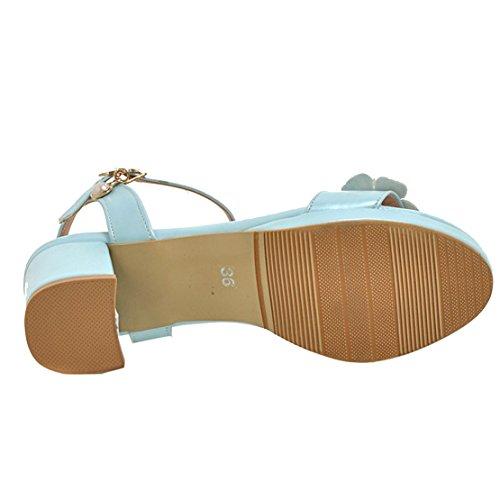 AIYOUMEI Damen Knöchelriemchen Sandalen mit Blumen Blockabsatz Bequem Sommer Schuhe Blau