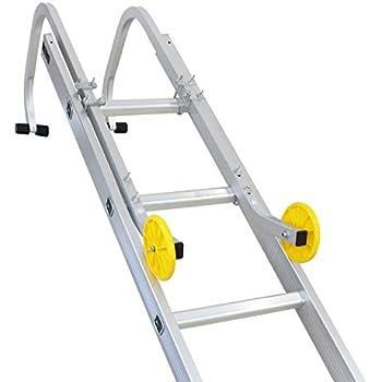 Sotech Ladder Roof Hook with Wheels, Universal Ladder Kit for Telescoping Ladder, Extension Ladder, Rubber Grip T-bar, Aluminum Alloy, Maximum Load 330lbs/150kg (1 Pair)