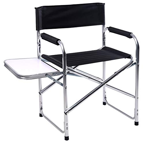 NanaPluz Aluminum Frame Folding Director Chair Camping Seat w/Side Table Tray with Ebook