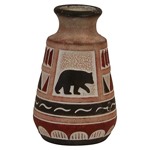 (Trippies Southwest Bear Vase Decorative Resin Vase Reproduction Pottery Style vase)