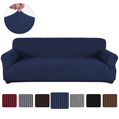Obstal Stretch Spandex Sofa Cover, 3 Seat Couch Covers for Living Room, Non Slip Sofa Slipcover with Elastic Bottom, Navy Blue Sofa Couch Coverings Furniture Protector for Dogs, Cats, Pets, and Kids (Sale Sofa Cushions For Large)