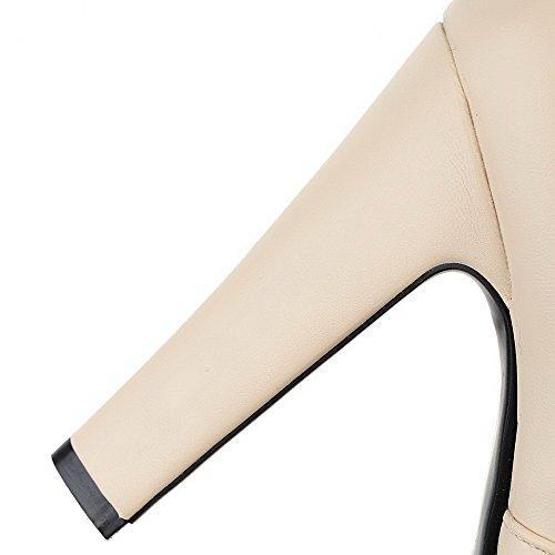 Allhqfashion Women's Solid PU High-Heels Pull-on Round Closed Toe Boots Beige FRDF3Z