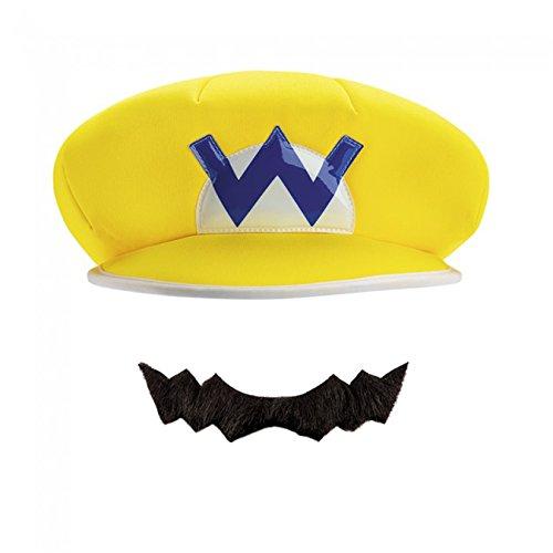 Mens Wario Costumes (Wario Super Mario Bros. Nintendo Child Hat & Mustache, One Size Child)