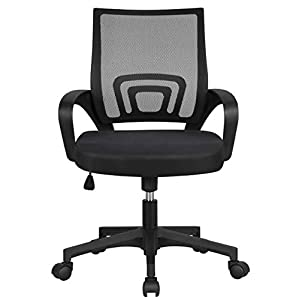 Yaheetech Black Ergonomic Office Chair Adjustable Desk Chair Computer Swivel Chair Fabric Mesh Chair for Conference…
