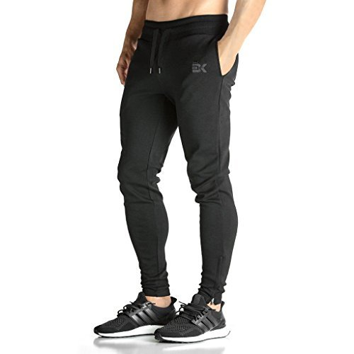BROKIG Mens ZIP JOGGER Pants - Casual GYM Fitness Trousers Comfortable Tracksuit Slim Fit Bottoms Sweat Pants with Pockets (L,...
