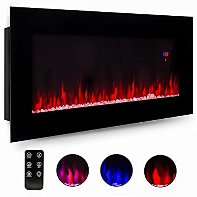 Best Choice Products 50in Electric Wall Mounted Smokeless Ventless Fireplace Heater with Adjustable Heat, Remote Control, Black