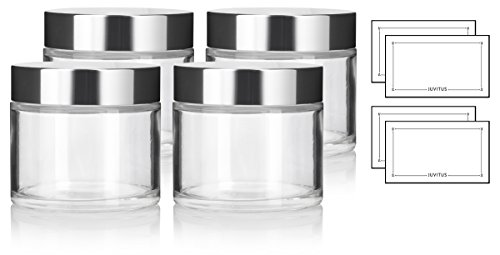 Clear Glass Heavy Base Thick Wall Luxury Professional Balm Jars with Silver Metal Lid - 8 oz / 220 ml (4 pack) + Labels - Luxury Labels