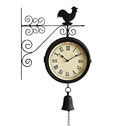 SX-ZZJ Wall Clocks Double Sided Wall Clock Outdoor On Bracket Train Station Round Clock with Rolling Wall Side Decoration 360 Degree Rotation Home Decor Metal Clocks