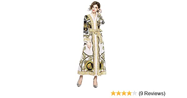 1732939917edf8 Women's Floral Print Maxi Dresses Loose Button up Split Casual Long Dress  Belts at Amazon Women's Clothing store: