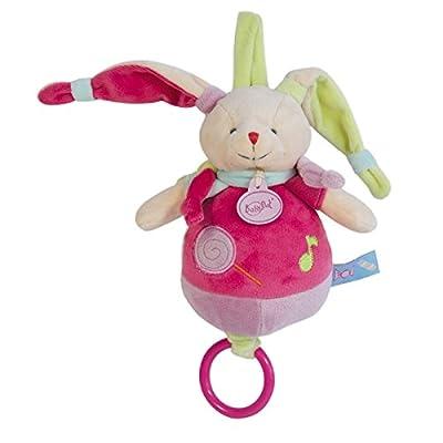 Babynat - Peluches et Doudous Doudou musical Lapin Les Gourmandises étiquettes bonbons noeuds Coloris Rose violet parmeTaille 22 cm Genre bébé fille