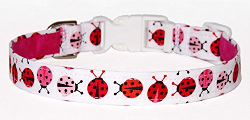 """Ladybugs Dog Collar - 100% Cotton - White, Pink & Red - 3/4"""" Wide - Size Small Adjusts 9"""" to 13"""""""