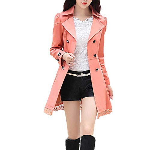 (WOCACHI Women's Spring Autumn Jacket Double Breasted Lapel Long Sleeve Trench Coat Tops Orange)