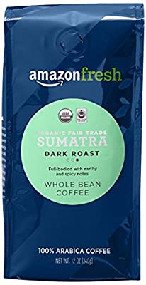 AmazonFresh Fair Trade Organic Sumatra Coffee, Dark Roast, Whole Bean, 12 Ounce