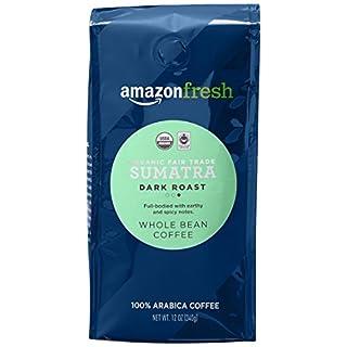 AmazonFresh Organic Fair Trade Sumatra Whole Bean Coffee, Dark Roast, 12 Ounce