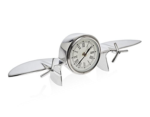 - Godinger Vintage Inspired Stainless Steel Airplane Roman Numeral Clock