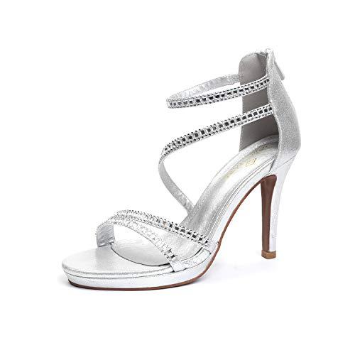DREAM PAIRS Women's GAL_20 Silver Fashion Stiletos Heeled Sandals Size 9 B(M) US