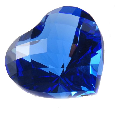 H&D 55mm Bling-bling Crystal Diamond Heart Shape Paperweight Packed With Gift Box Home Decor (blue)