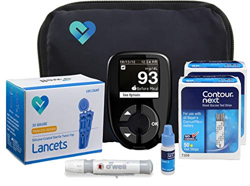 Contour Next Diabetes Testing Kit | Contour Next Blood Glucose Meter, 100 Contour Next Blood Glucose Test Strips, 100 Lancets, Lancing Device, Control Solution, Log Book, User Manuals & Carry Case