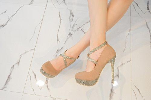 Mila Lady ELVA26 Women Fashion Embellished Sparkles Party Pumps High Heel Stilettos Sexy With Slim Strap Dress Shoes, Camel