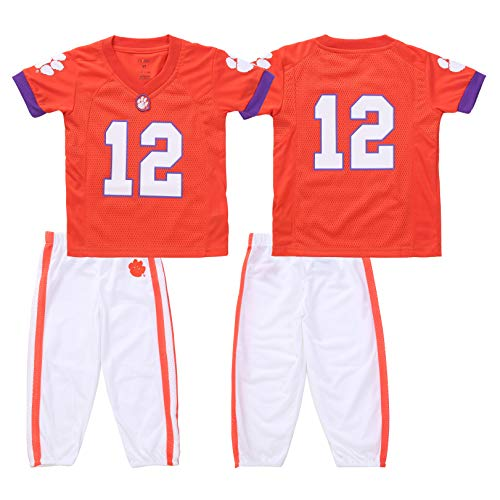 FAST ASLEEP NCAA Clemson Tigers Boys Toddler/Junior Football Uniform Pajamas, Size 5T, Orange/White