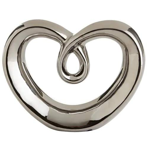 (Modern Art Heart Abstract Sculpture Silver Free Standing Wedding Valentine Home Decor Wedding Gift Boxed)
