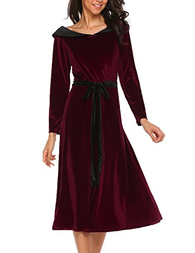 bb97cc26dff0 ... Meaneor Damen Elegant Retro Vintage Kleid Abendkleid Samtkleid  Cocktailkleid Maxikleid Festlich Lang 3 4 Arm ...