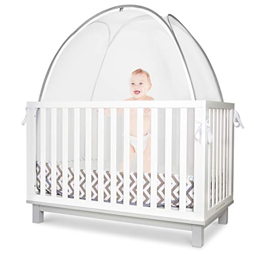 Cover Guard Rest Mattress (KinderSense - Baby Crib Safety Tent | Premium See Through Mesh Sturdy Pop Up Canopy Cover Mosquito Net | Prevent & Protect Infant Child from Climbing Out of Bed & from Insects Bugs | CPSC Tested Safe)