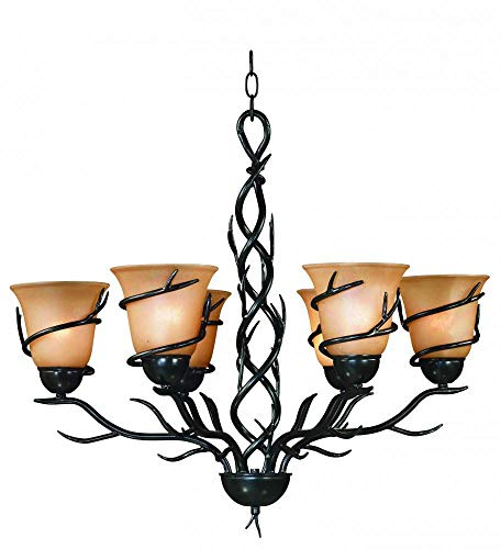 Kenroy Home 90900BRZ Twigs 6 Light Chandelier Amber Iridescent