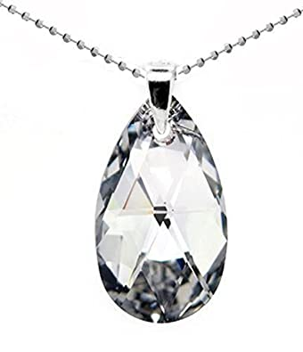 Sterling silver made with swarovski crystals teardrop clear white sterling silver made with swarovski crystals teardrop clear white pendant necklace for women bridal aloadofball Image collections