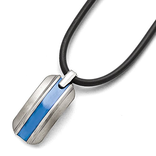 - Q Gold Jewelry Necklaces Necklace with Pendants Titanium Grey Ti Brushed Blue Anodized Rubber Cord Necklace