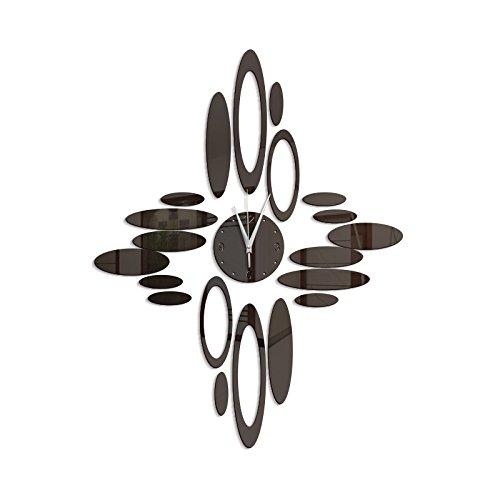 Stylish, Silent Wall Clock Home,Kitchen,Office,Living Room,School Clock, Easy to ReadDecorative Wall Clock Wall Oval Ring Wall Clock Green Crystal Decorative Clock Mirror Quartz Clock zb043, Black