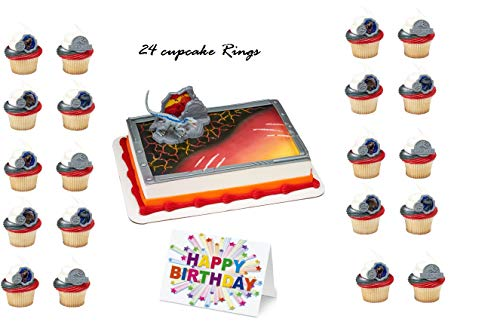 JURASSIC PARK WORLD 2 DINOSAUR Cake Topper Set Cupcake 24 Pieces plus Birthday Card