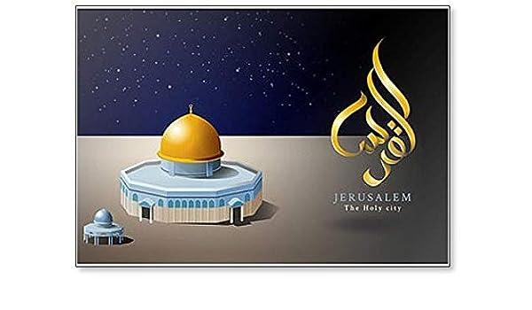 Ciudad Vieja de Jerusalén en Israel. Imán para nevera con ...