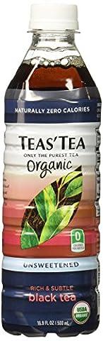 Teas' Tea Unsweetened Organic Black Tea, 16.9 Ounce (Pack of 12)