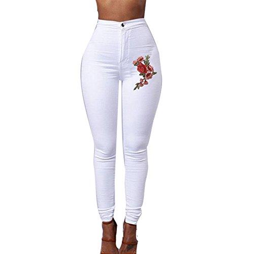 Meedot Femmes Leggings Broderie Skinny Taille Haute Sexy Pansement Crayon Pantalon Slim Fit Collant Blanc