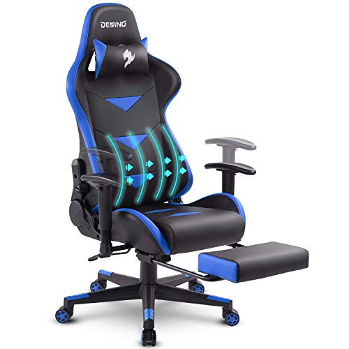 DESINO Gaming Chair Racing Style High Back Computer Chair Swivel Ergonomic Executive Office Leather Chair with Footrest, Adjustable Armrests and Lambar Support (Blue) (Chair Back Store)