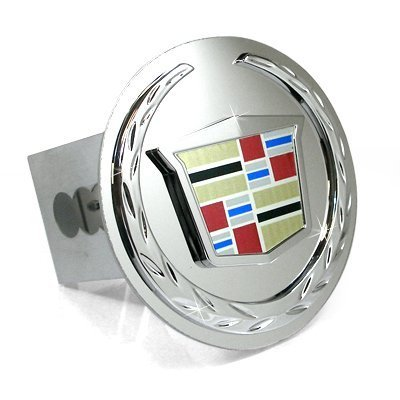 Au-Tomotive Gold, INC. Cadillac Chrome Logo Tow Hitch Cover Plug - New Logo (Chrome Trailer Plug Hitch)