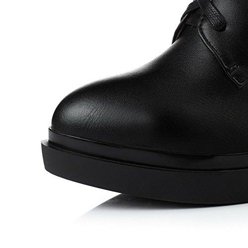 AllhqFashion Damen Rein Hoher Absatz PU Leder Reißverschluss Stiefel Schwarz
