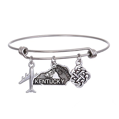 JJTZX State Bangle U.S. Map Charm Expandable Travel Bracelet Long Distance Relationship Gift Best Friends Bracelet (Kentucky)