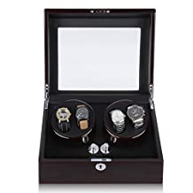 Excelvan Mens Luxury Wood Watch Winder Leather Storage Display Box Automatic Rotation Jewelry Case Organizer (4+6 Light Brown)