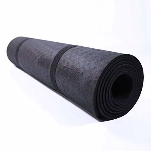 EuroSports Premium TPE Non-Slip Pattern Design Yoga Mat with Carrying Strap – 72″ Extra Long 1/4″(6mm)Thick Non-Toxic Anti-Tear Material SGS Certified