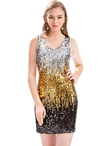 (MANER Women's Sexy V Neck Sequin Glitter Bodycon Stretchy Sexy Mini Party Dress (L, Silver/Gold/Black))