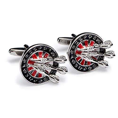 Novelty Cufflinks for Men Archery Bow and Arrow Target Heart Red Stainless Steel Jewelry Party Shirt Cuff Links