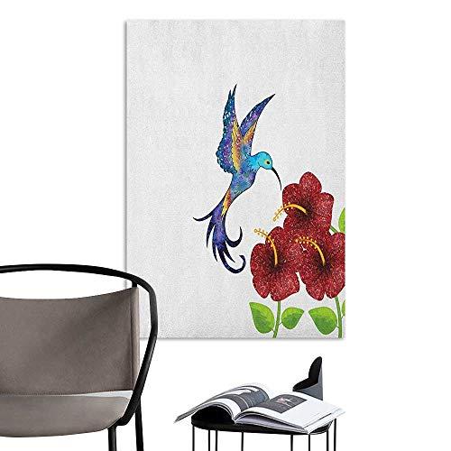 (Alexandear Art Decor 3D Wall Mural Wallpaper Stickers Hummingbird A Hummingbird in Flower Garden Fantasy Tails Wings Imaginative Artwork Burgundy Green Room Bedside W8 x H10)