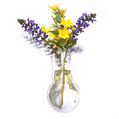 Window Vases Gadjit Vinyl Mini Bulb Style (Pack of 2) - Suctions to Windows and Mirrors, Holds Flower Stems and Water, Clear Flexible Vinyl