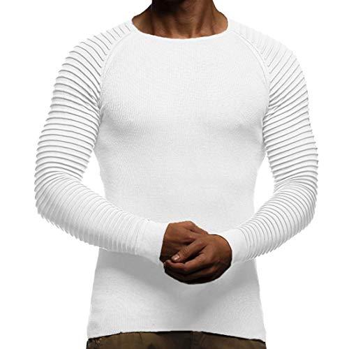 Automne Élastique À Adeshop Barre Haut Col Hommes Plier Vêtements Pure Tee Blouse Slim Rond Manches Couleur Mode Top Taille Grande Rayures Longues Blanc Casual Top Verticale Et Sport HAzwH