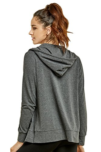 Sofra Teejoy Women's Thin Cotton Zip Up Hoodie Jacket (Large, Black/CharcoalGrey) by Sofra (Image #4)