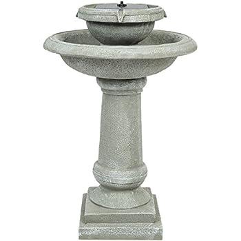 Best Choice Products Solar Power 2 Tier Weathered Stone Bird Bath Fountain Gray