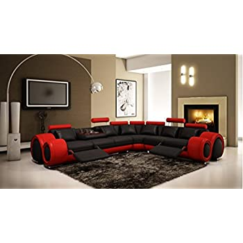 this item vig furniture red and black leather sectional sofa w recliners